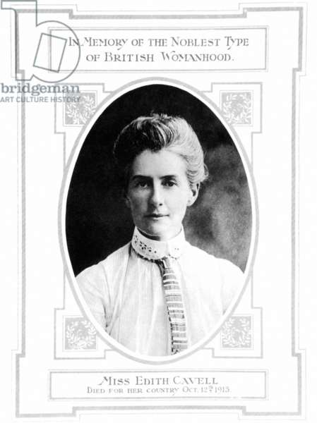 EDITH CAVELL (1865-1915) Edith Laura Cavell. English nurse. Memorial page from an English newspaper published on the announcement of her execution by firing-squad by the German occupation authorities at Brussels on 12 October 1915.