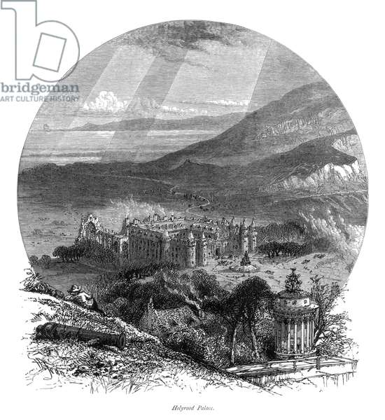 HOLYROOD PALACE The home of Mary, Queen of Scots (1542-1587), Edinburgh, Scotland. Wood engraving, English, 19th century.