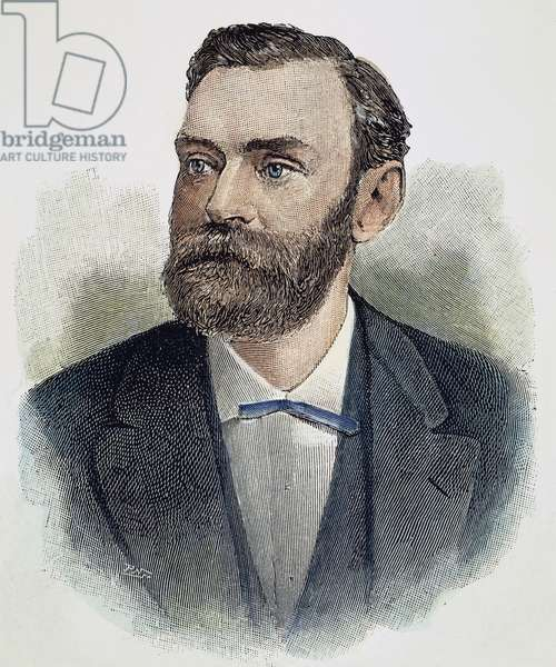 ALFRED NOBEL (1833-1896) Swedish chemist and engineer: line engraving, 1897.