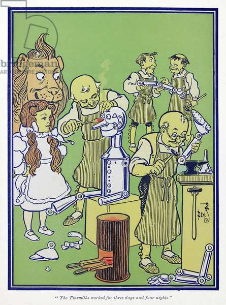 WIZARD OF OZ, 1900 'The Tinsmiths worked for three days and four nights.' Illustration by W.W. Denslow for the first edition of 'The Wonderful Wizard of Oz' by L. Frank Baum, 1900.