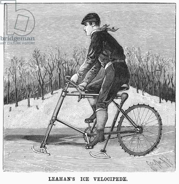 ICE VELOCIPEDE, 1896 'Leahan's ice velocipede.' Engraving, American, 1896.