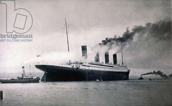 THE 'TITANIC,' 1912 The White Star liner 'Titanic' photographed just before leaving Southampton, England, on her maiden voyage on April 10, 1912.