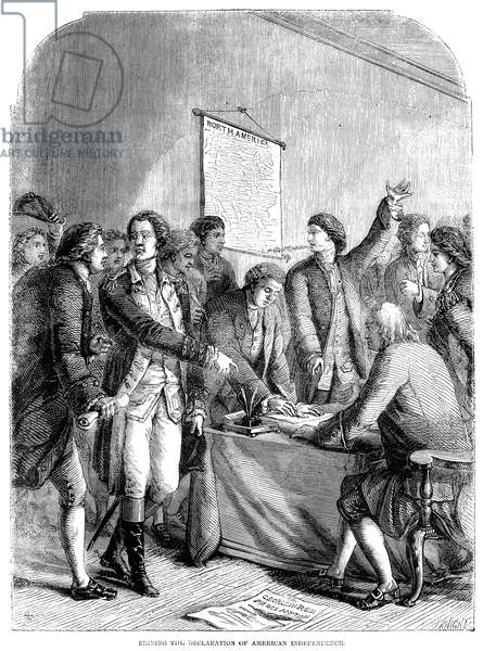 DECLARATION OF INDEPENDENCE The Signing of the Declaration of Independence at Independence Hall in Philadelphia, Pennsylvania, 4 July 1776. Wood engraving, English, 19th century.