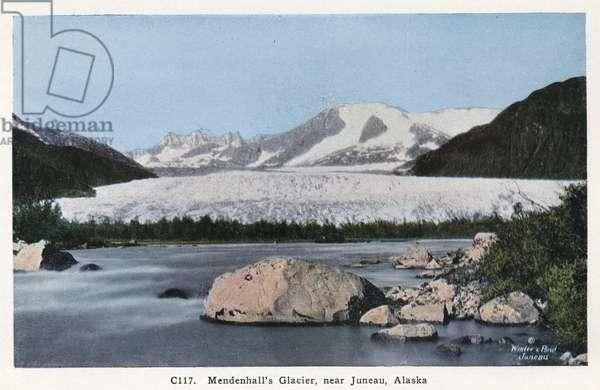 ALASKA: MENDENHALL GLACIER Mendenhall Glacier near Juneau, Alaska. Postcard, American, c.1930.