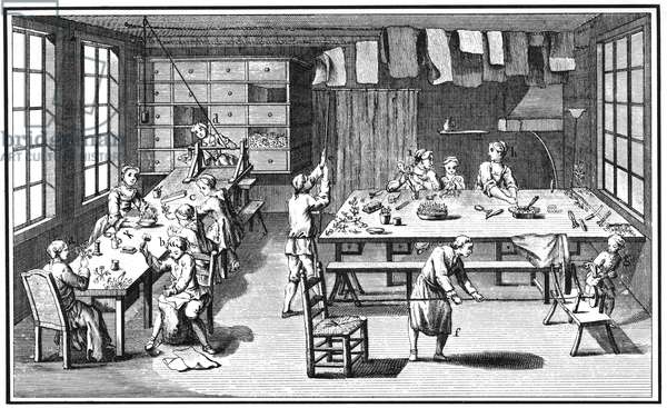 FLOWER-MAKER, 18TH CENTURY The manufacture of artificial flower bouquets. Copper engraving from 'L'Encyclopedie' of Denis Diderot, 18th century.