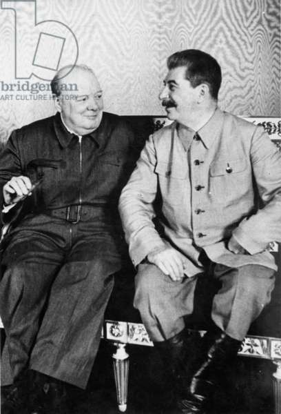 SIR WINSTON CHURCHILL (1874-1965). English statesman and author; photographed with Joseph Stalin during a meeting at the Kremlin in August 1942.