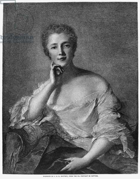 MARQUISE DE POMPADOUR (1721-1764). Mistress of King Louis XV of France. Wood engraving after a painting by Jean-Marc Nattier.