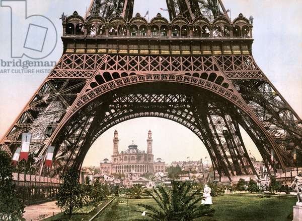 PARIS: EIFFEL TOWER, c.1900 A view of the Eiffel Tower and the Trocadero during the Exposition Universelle of 1900 in Paris, France. Photochrome, c.1900.