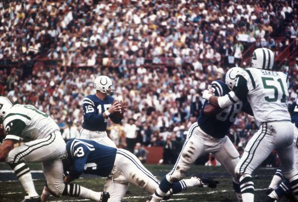 FOOTBALL, 1969 Quarterback Johnny Unitas during the Super Bowl between the New York Jets and Baltimore Colts. Photograph, 1969.