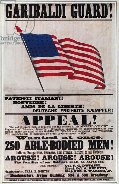 CIVIL WAR: RECRUITNG, 1861 Civil War recruiting poster, 1861, appealing to recent immigrants to U.S.