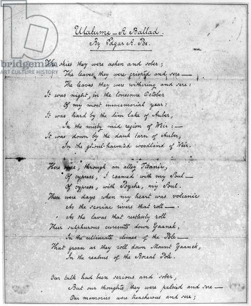 POE: ULALUME, 1847 Manuscript of the poem 'Ulalume,' 1847, by Edgar Allan Poe.