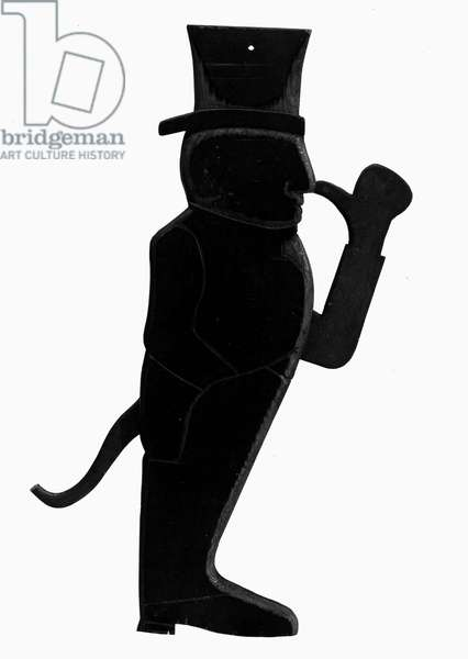 HARDING NOSE-THUMBER, 1920 Mechanical statuette of presidential candidate Warren G. Harding. When a lever on his back is pushed, a tail comes out and his arm raises to thumb his nose at his opponent.