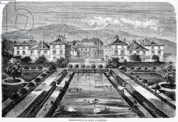 MOËT ET CHANDON, 1862 The residence of the owner of Moët et Chandon Champagne at Épernay, France. Wood engraving, French, 1862.