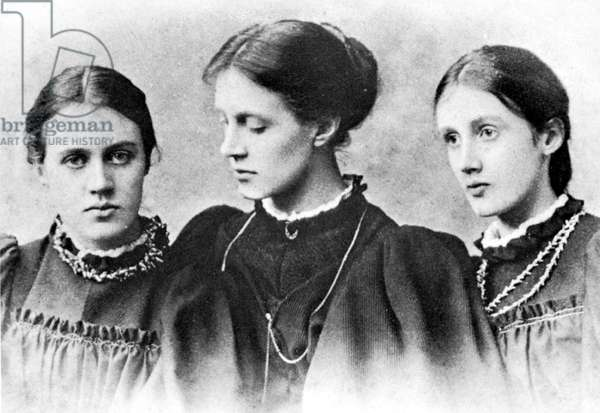 VIRGINIA WOOLF (1882-1941) English writer. Photographed in 1896 with her sister Vanessa (left), and her half-sister Stella Duckworth (center).