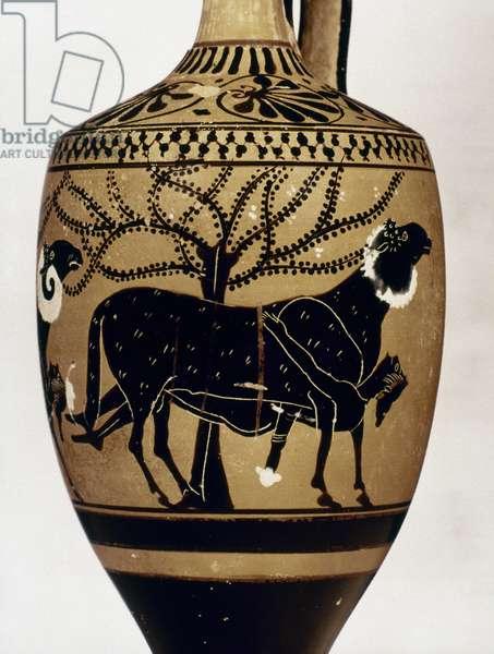 Odysseus escaping from Polyphemus, Attic black-figured lekythos, 6th century B.C.