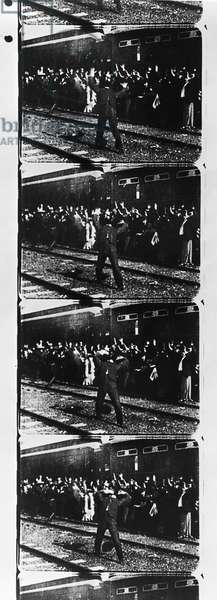 EDISON: FILM STRIP, 1903 Sequence from the film 'The Great Train Robbery' made by the Edison Company in 1903.