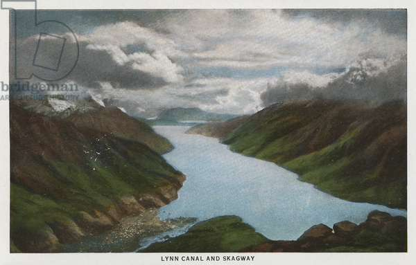 ALASKA: LYNN CANAL View of Lynn Canal and Skagway in Alaska. Postcard, c.1938.