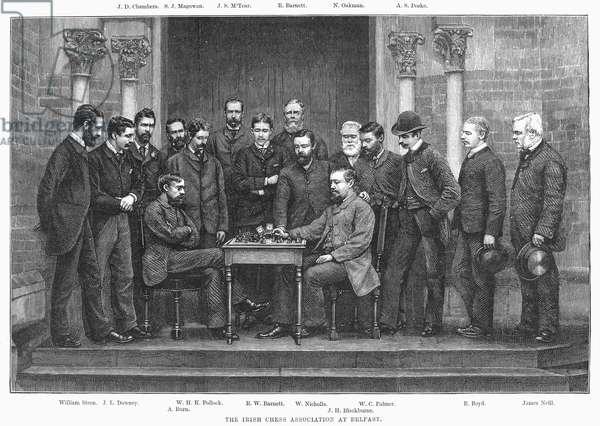 IRISH CHESS ASSOCIATION The Irish Chess Association at Belfast. Line engraving, 1886.