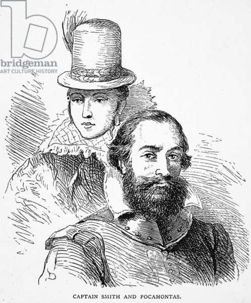 POCAHONTAS & SMITH Captain John Smith (1580-1631) and Pocahontas (1595?-1617). Wood engraving, American, 1877.