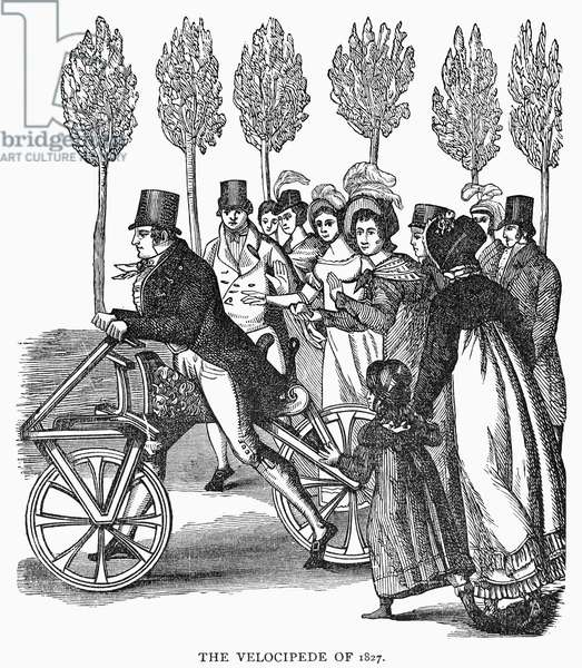 VELOCIPEDE, 1827 The secretary of a European legation creates a sensation in 1827 by appearing on Pennsylvania Avenue in Washington, D.C. mounted on a velocipede imported from London. Contemporary wood engraving