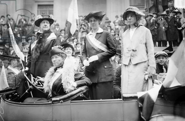 WOMEN'S RIGHTS RALLY American social reformers Alice Paul (right) and Doris Stevens (second to right) with two others identified as Mrs. Colt and Mrs. Prendergast, photographed at a rally, early 20th century.