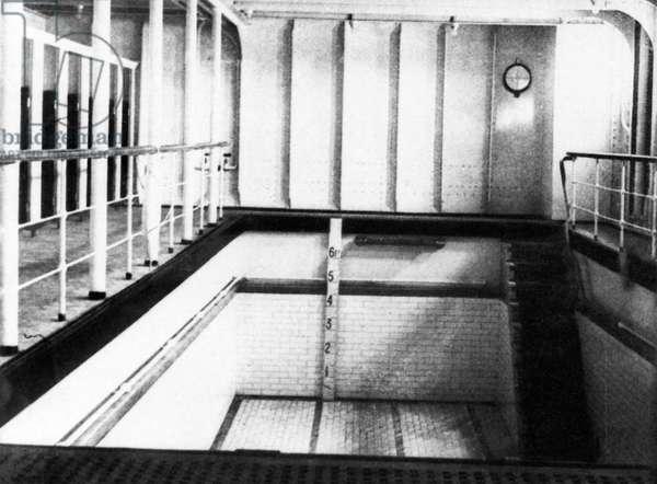 TITANIC: SWIMMING POOL. A 'swimming bath' aboard the 'Titanic,' 1912.
