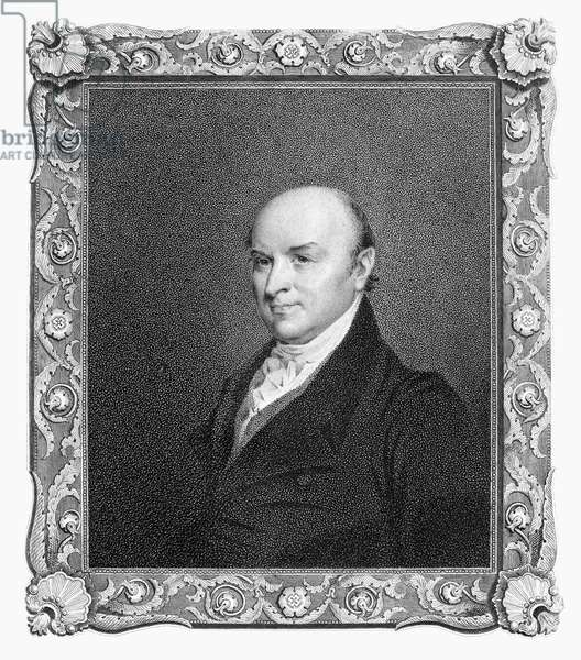 JOHN QUINCY ADAMS (1767-1848). Sixth President of the United States. Aquatint, 19th century, after a painting by Gilbert Stuart.