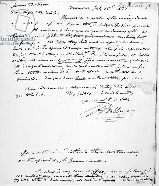 JEFFERSON: DEATH, 1826 Letter, 15 July 1826, from J. Hubbard to former President James Madison on the death of Thomas Jefferson, which occurred on 4 July.