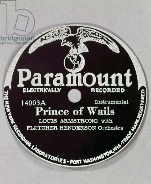 JAZZ RECORD LABEL, c.1924 Label for the record 'Prince of Wails,' recorded by Louis Armstrong with the Fletcher Henderson Orchestra, c.1924.