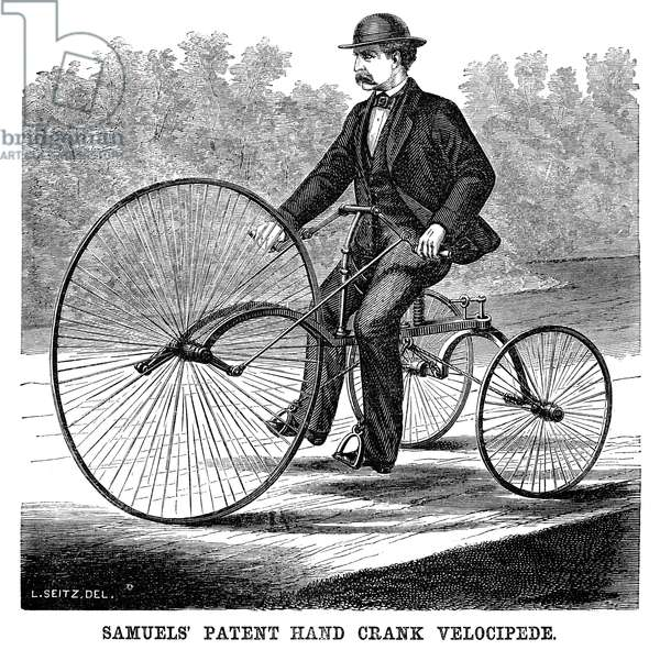 BICYCLING, 1869 Samuels' patent hand crank velocipede. Wood engraving, American, 1869.