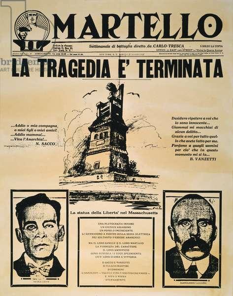 SACCO AND VANZETTI, 1927 The front page of Carlo Tresca's Italian-language newspaper