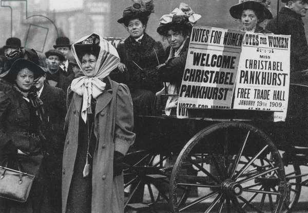 CHRISTABEL PANKHURST (1880-1958). English woman-suffrage advocate. Miss Pankhurst at Manchester, England, in January 1909 shortly after her release from Holloway Prison.