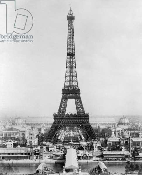 PARIS: EIFFEL TOWER, 1889 A view of the Eiffel Tower and the exhibition buildings on the Champ de Mars during the Exposition Universelle of 1889 in Paris, France. Photograph, 1889.