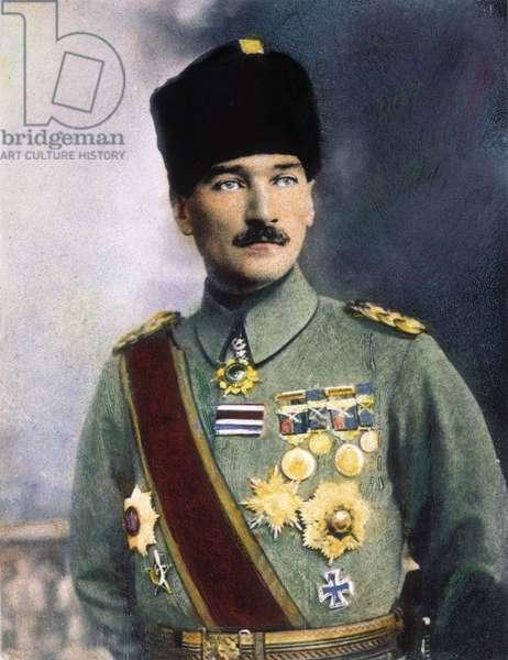 MUSTAFA KEMAL ATATURK (1881-1938). Turkish soldier and statesman. Oil over a photograph, n.d.