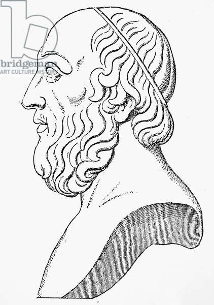 PLATO (c427 B.C.-c347 B.C.) Greek philosopher. Line engraving, 19th century, after an antique bust.