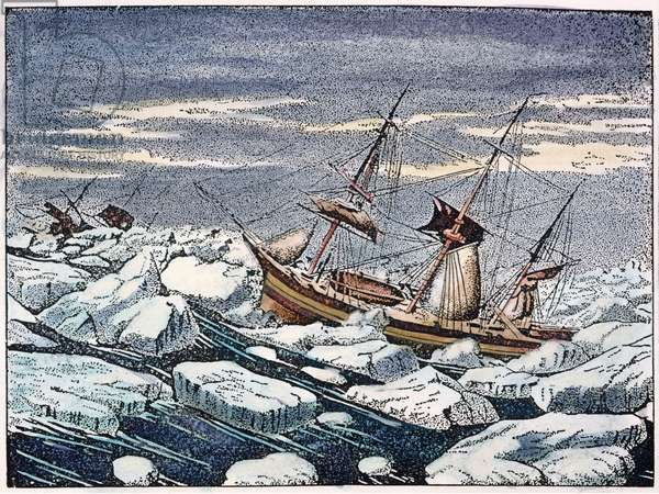 JOHN FRANKLIN'S EXPEDITION H.M.S. Erebus and H.M.S. Terror of Sir John Franklin's ill-fated Arctic expedition (1845-47) weathering a gale in an ice pack. Contemporary engraving.