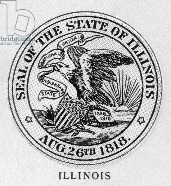 STATE SEAL: ILLINOIS Wood engraving, c.1868.