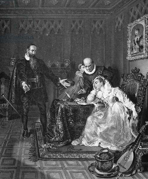 JOHN KNOX (1505-1572) Scottish religious reformer. John Knox (left) disputing with Mary Stuart, Queen of Scotland, concerning her wish to marry the Spanish prince Don Carlos and keep Scotland Catholic. Steel engraving, 19th century.