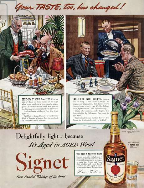 AD: WHISKEY, 1940 American advertisement for Signet Whiskey. Illustration, 1940.