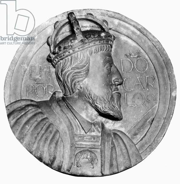 CHARLES V (1500-1558). Holy Roman Emperor (1519-1556) and King of Spain as Charles I (1516-1556). Limestone portrait medallion, c.1535.