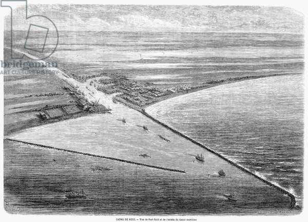 SUEZ CANAL: PORT SAID, 1869 View of Port Said on Lake Manzala, Egypt, at the entry to the Suez Canal. Wood engraving from a French newspaper of 1869.