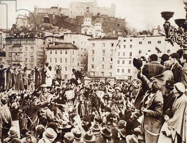 AUSTRIA: ANSCHLUSS, 1938 Enthusiastic crowds greet German soldiers as they enter Salzburg, Austria, on 12 March 1938.