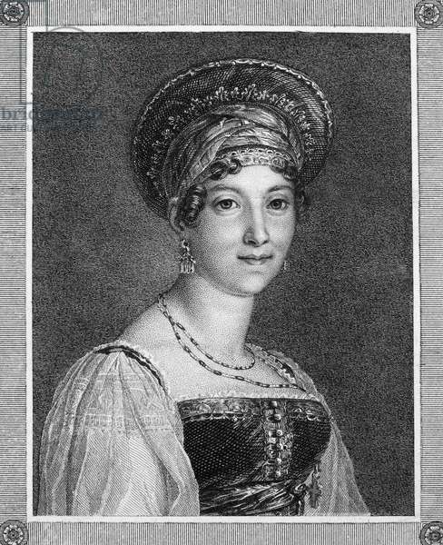 MADEMOISELLE MARS (1779-1847). Anne Francoise Hippolyte Boutet, known as 'Mademoiselle Mars.' French actress. Stipple engraving, 19th century, after a painting by Jacques Louis David.