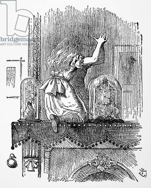 CARROLL: LOOKING GLASS Alice at the Looking-Glass. Illustration by John Tenniel from the first edition of Lewis Carroll's 'Through the Looking Glass,' 1872.
