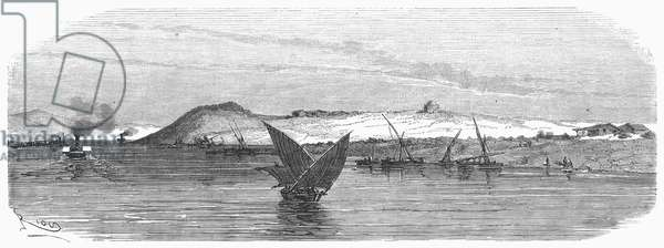 SUEZ CANAL, 1869 The Isthmus of Suez. Wood engraving, French, 1869.
