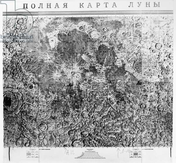RUSSIAN MOON MAP, 1971 A photographic map of the surface of the moon, indicating the landing sites of the American Apollo 11 and Apollo 12 missions, and the Russian Luna 16 mission. Russian map, 1971.