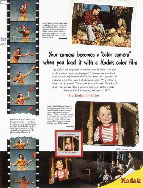 KODAK ADVERTISEMENT, 1948 Advertisement for Kodak color film from an American magazine, 1948.
