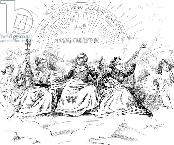 WOMEN'S RIGHTS CARTOON 'The Apotheosis of Liberty.' American cartoon, 1896, by George Y. Coffin, showing the women's suffrage advocates Elizabeth Cady Stanton and Susan B. Anthony included in the American pantheon with President Geroge Washington.