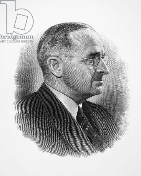 HARRY S. TRUMAN (1884-1972). 33rd President of the United States. Steel engraving.