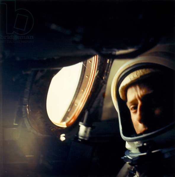 CHARLES CONRAD (1930-1999) Charles 'Pete' Conrad, Jr. American astronaut and engineer. Conrad photographed inside the Gemini V spacecraft as it orbited the earth. Photographed by command pilot L. Gordon Cooper, Jr. August 1965.